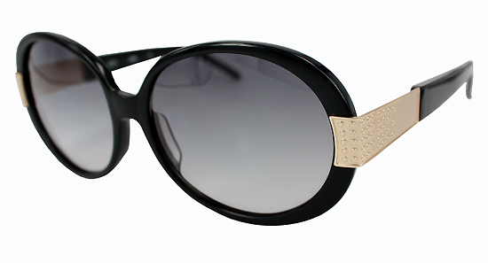 Leona Edmiston Molly Black and Gold round sunglasses